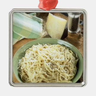 Spaghetti with Pecorino romano and black Square Metal Christmas Ornament