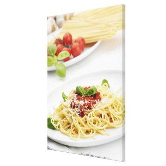 Spaghetti with tomato sauce and basil canvas print