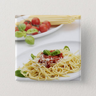 Spaghetti with tomato sauce and basil pinback button
