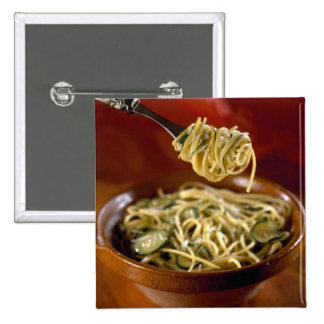 Spaghetti with zucchinis and lemon For use in Pinback Button