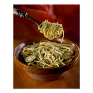 Spaghetti with zucchinis and lemon For use in Poster