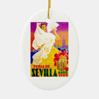Spain 1955 Seville April Fair Poster Ceramic Ornament