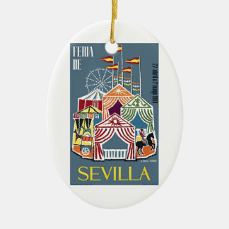 Spain 1960 Seville Festival Poster Ceramic Ornament