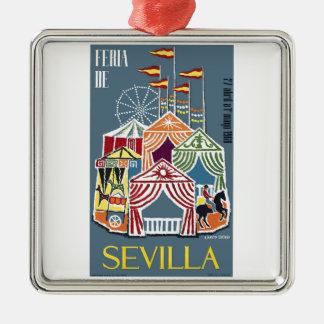 Spain 1960 Seville Festival Poster Metal Ornament