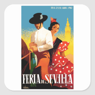 Spain 1961 Seville April Fair Poster Square Sticker