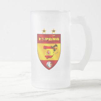 Spain 1964 2008 soccer futbol emblem shield frosted glass beer mug