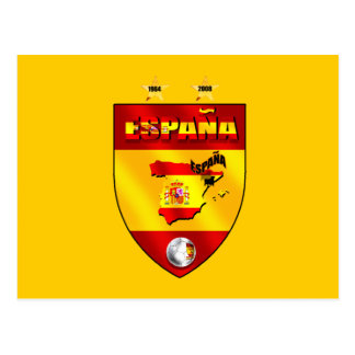 Spain 1964 2008 soccer futbol emblem shield postcard
