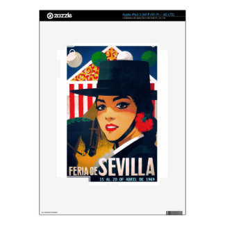 Spain 1969 Seville April Fair Poster Decals For iPad 3
