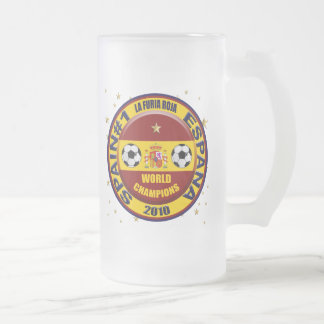 Spain 2010 World Champions Soccer Futbol Frosted Glass Beer Mug