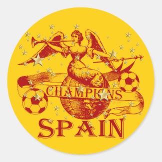 Spain 2010 World Champions Vuvuzela Soccer Classic Round Sticker