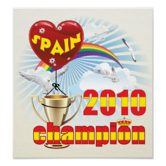Spain 2010 World Cup Champions Trophy Poster