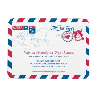 SPAIN Air Mail Wedding Save the Date 3x4 Rectangle Magnets