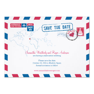 Spain Air Mail Wedding Save The Date Personalized Announcements