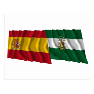 Spain and Andalucía waving flags Postcard