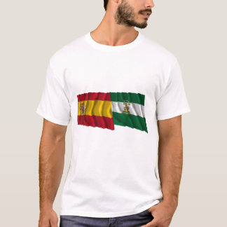 Spain and Andalucía waving flags T-Shirt