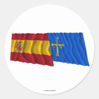 Spain and Asturias waving flags Classic Round Sticker