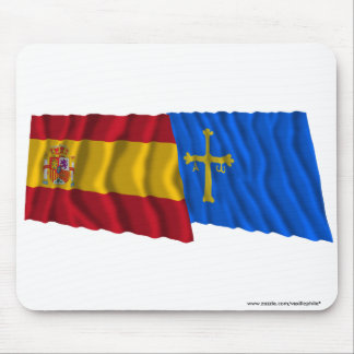 Spain and Asturias waving flags Mouse Pad
