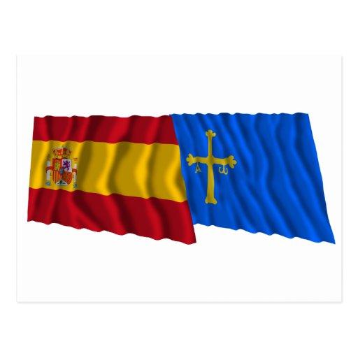 Spain and Asturias waving flags Postcard