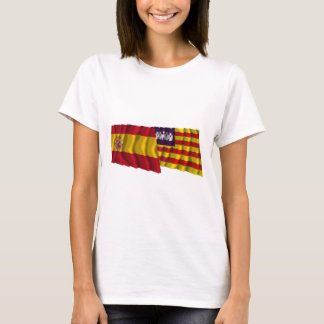 Spain and Balearic Islands waving flags T-Shirt