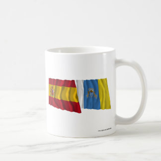 Spain and Canary Islands Waving Flags Mug