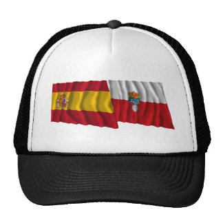 Spain and Cantabria waving flags Trucker Hat