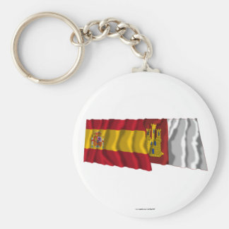 Spain and Castilla-La Mancha waving flags Basic Round Button Keychain