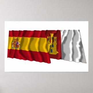 Spain and Castilla-La Mancha waving flags Poster