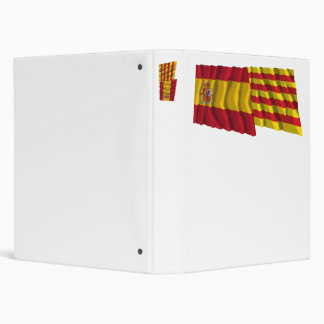 Spain and Cataluña waving flags 3 Ring Binder