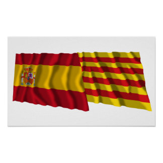 Spain and Cataluña waving flags Print