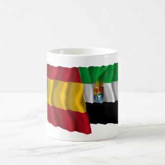 Spain and Extremadura waving flags Coffee Mug