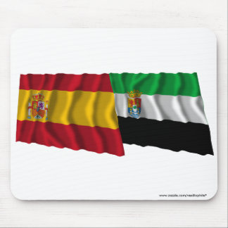 Spain and Extremadura waving flags Mouse Pad