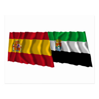 Spain and Extremadura waving flags Postcard