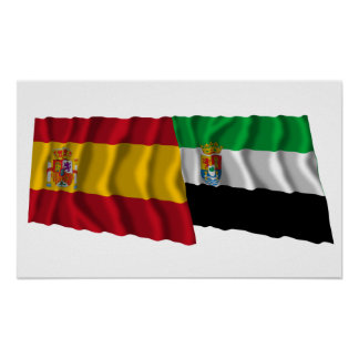 Spain and Extremadura waving flags Poster