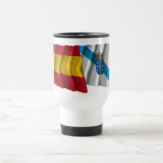 Spain and Galicia waving flags 15 Oz Stainless Steel Travel Mug