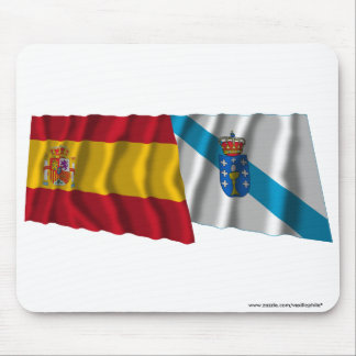 Spain and Galicia waving flags Mouse Pads