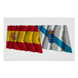 Spain and Galicia waving flags Print