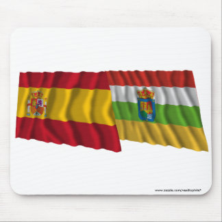 Spain and La Rioja waving flags Mouse Pad
