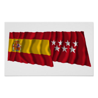 Spain and Madrid waving flags Poster