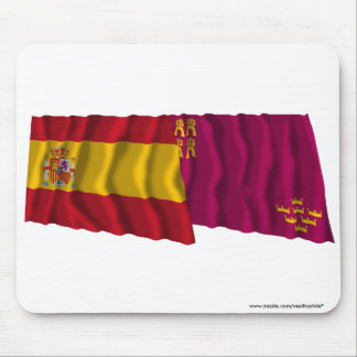 Spain and Murcia waving flags Mouse Pads