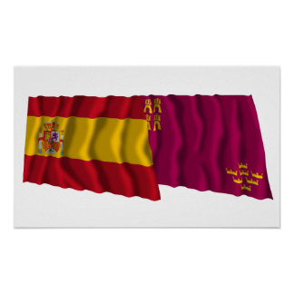 Spain and Murcia waving flags Poster