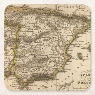 Spain and Portugal 8 Square Paper Coaster