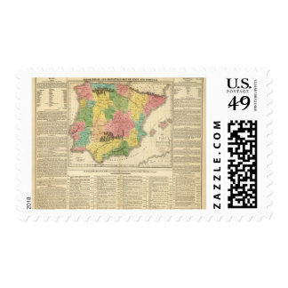 Spain and Portugal Chronology Map Postage