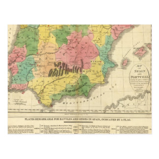 Spain and Portugal Chronology Map Postcard