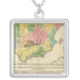 Spain and Portugal Chronology Map Silver Plated Necklace