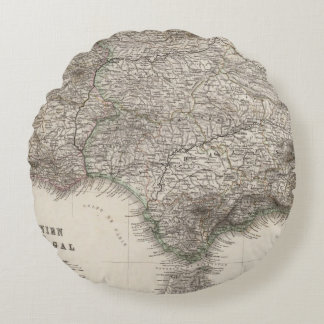 Spain and Portugal, four leaves Round Pillow
