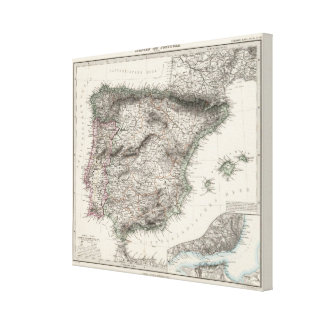 Spain and Portugal Map by Stieler Stretched Canvas Print
