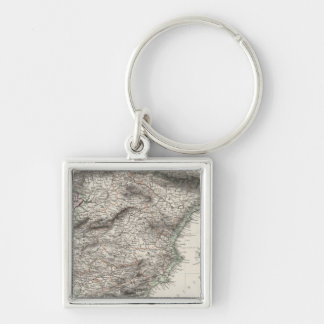 Spain and Portugal Map by Stieler Keychain
