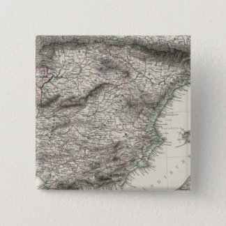 Spain and Portugal Map by Stieler Pinback Button