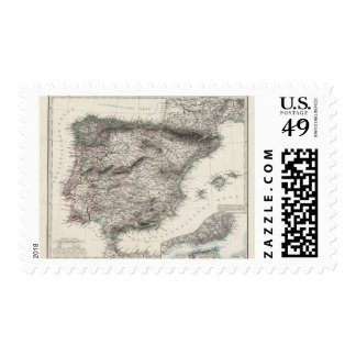 Spain and Portugal Map by Stieler Postage Stamp