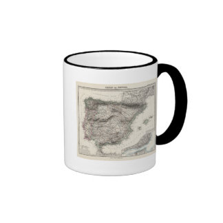 Spain and Portugal Map by Stieler Ringer Mug